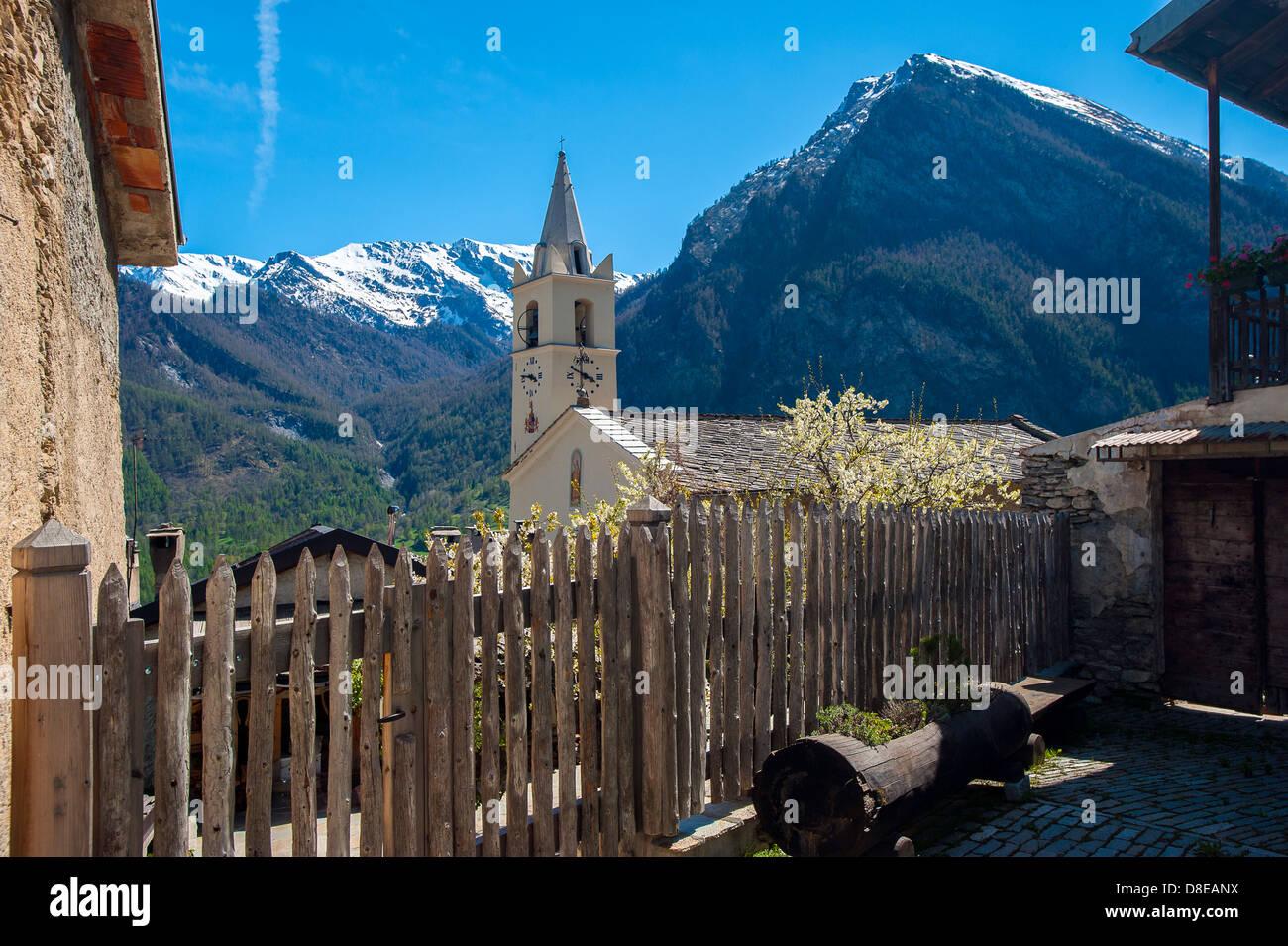 Europe Italy Province of Torino Piedmont Orsiera Rocciavriè Park Usseaux  the Church s. Pietro Apostolo - Stock Image