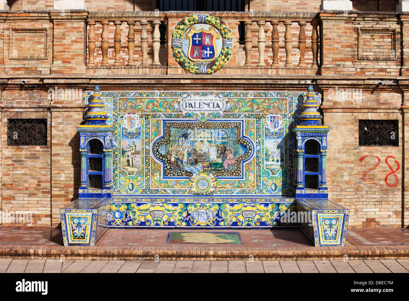 Bench with Azulejos Tiles on Plaza de Espana in Seville, Spain. - Stock Image