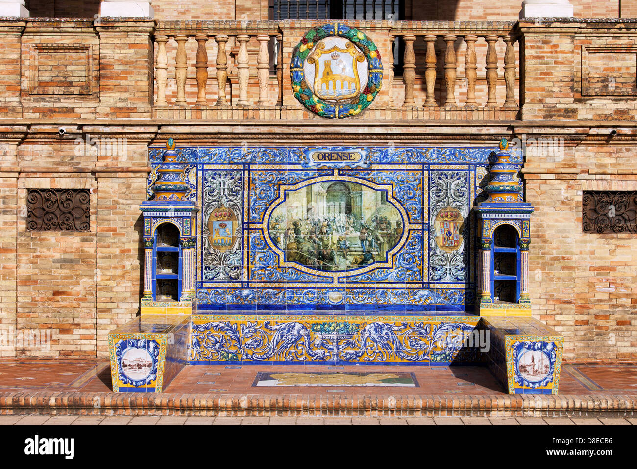 Bench with Azulejos Tiles on the Plaza de Espana in Seville, Spain. - Stock Image