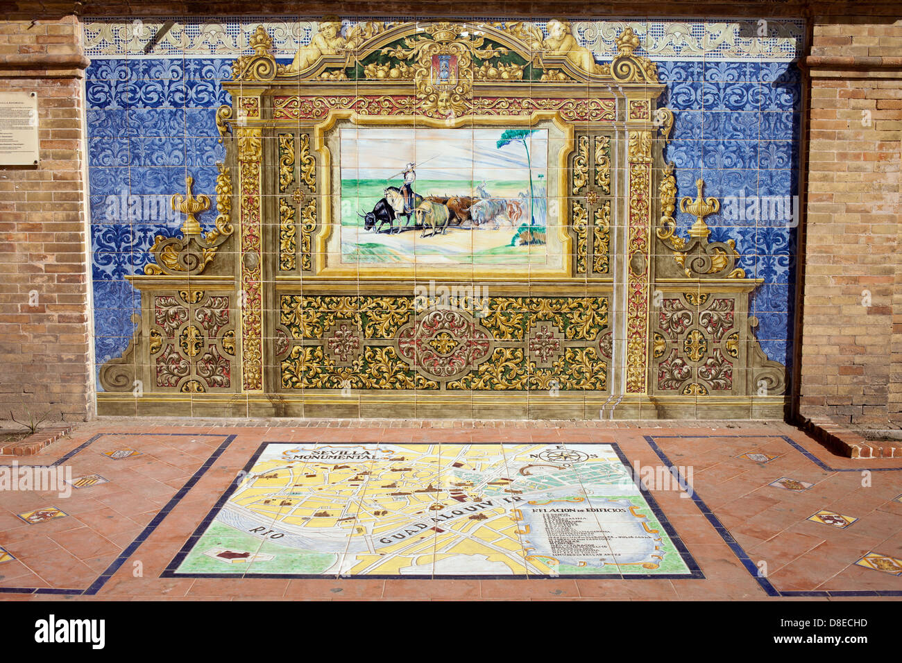 Painted Azulejos glazed ceramic tiles on Plaza de Espana in Seville, Spain, Andalusia region. - Stock Image