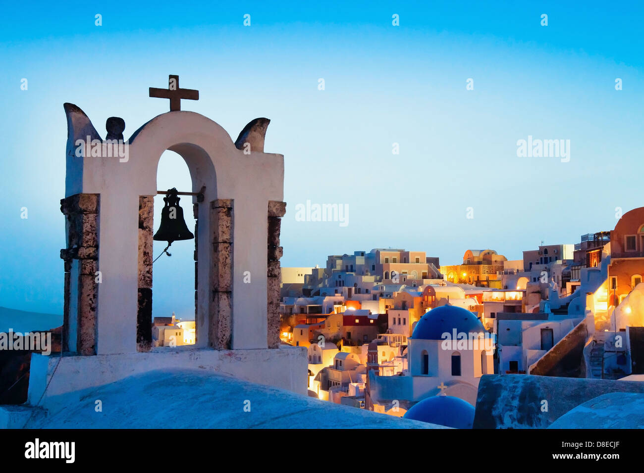 beautiful panoramic view of Santorini, Greece, traditional church on foreground - Stock Image