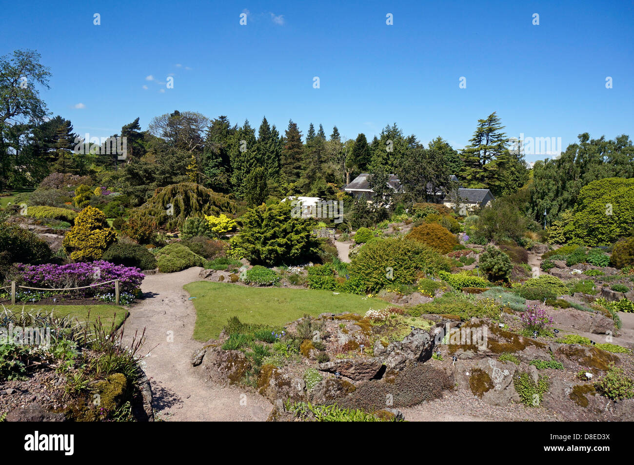 The Rock Garden and stream area of Royal Botanic Garden in Edinburgh Scotland - Stock Image