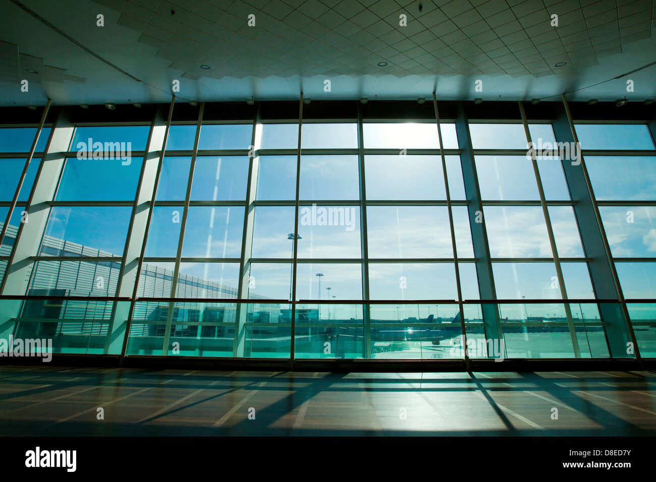 glass wall in the airport, abstract business interior - Stock Image