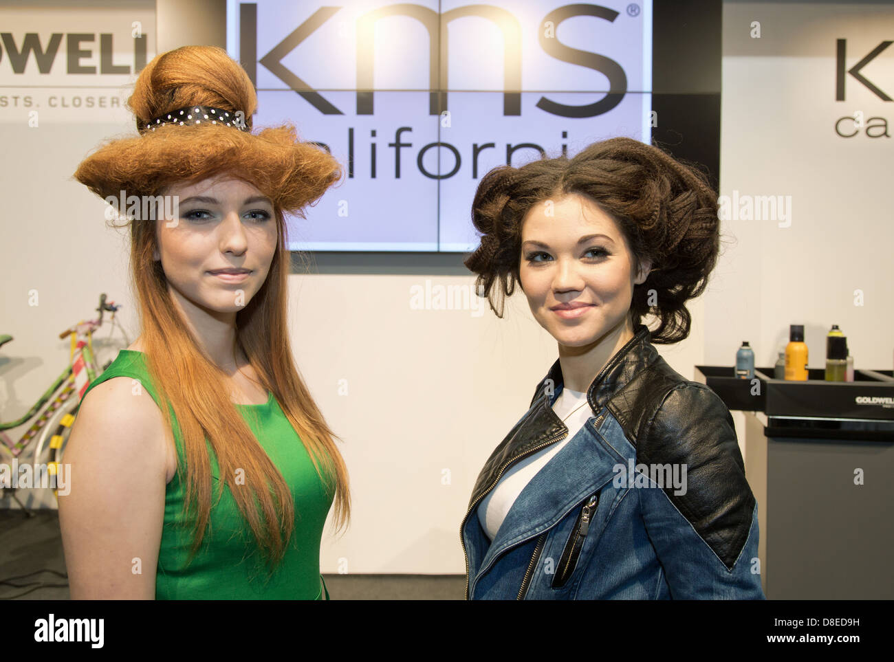 Poznan, Poland, hair models from different manufacturers advertise for hairspray - Stock Image