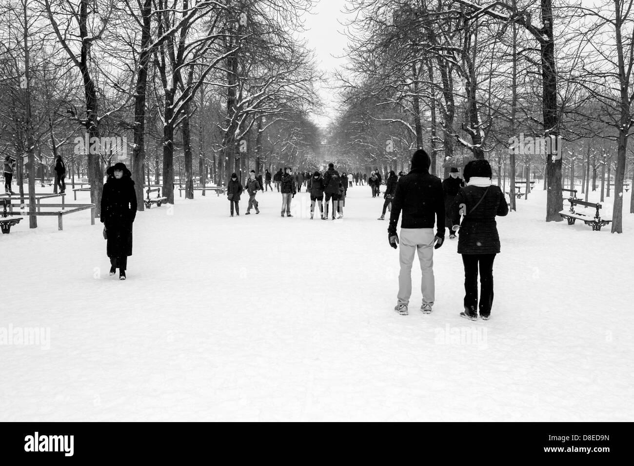 People enjoying snowy park. - Stock Image