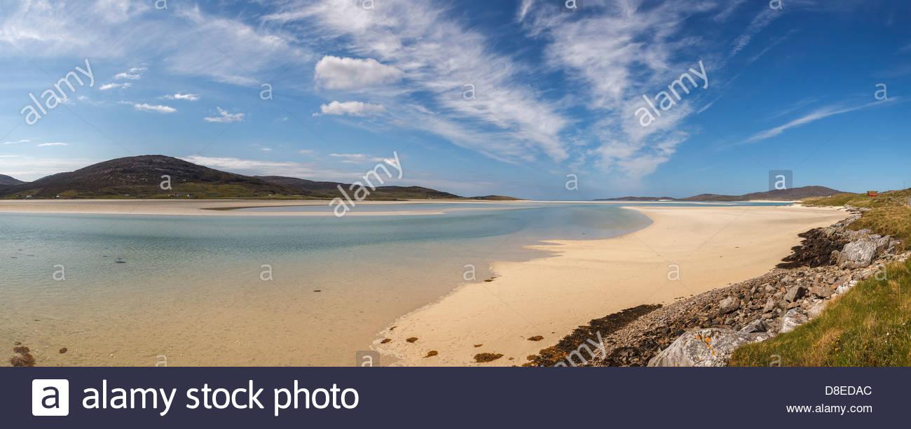 View over Luskentyre Bay (Tràigh Losgaintir), Isle of Harris, Outer Hebrides, Scotland, United Kingdom - Stock Image