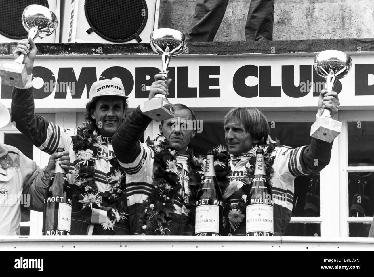 24 H of Le Mans 1986;Rothmans Porsche (D);Stuck, Bell, Holbert,Podium - Stock Image