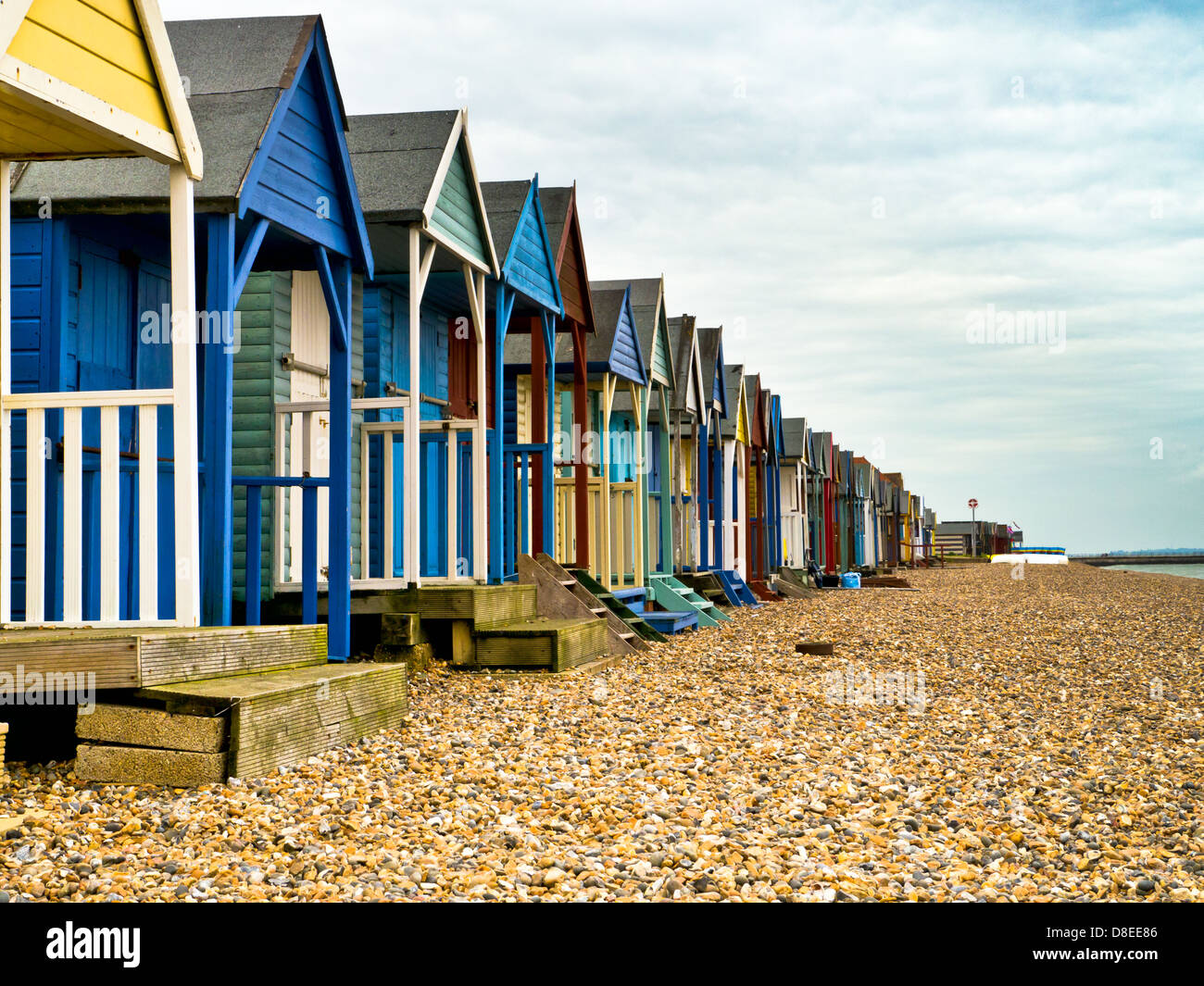 Beach huts in Herne Bay, Kent - Stock Image