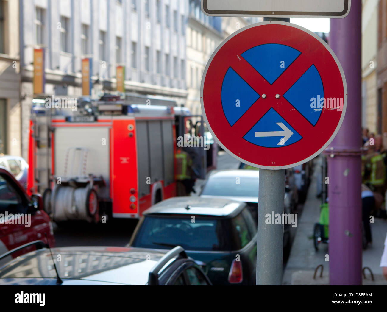 Berlin, Germany, no parking, parked vehicles and fire - Stock Image
