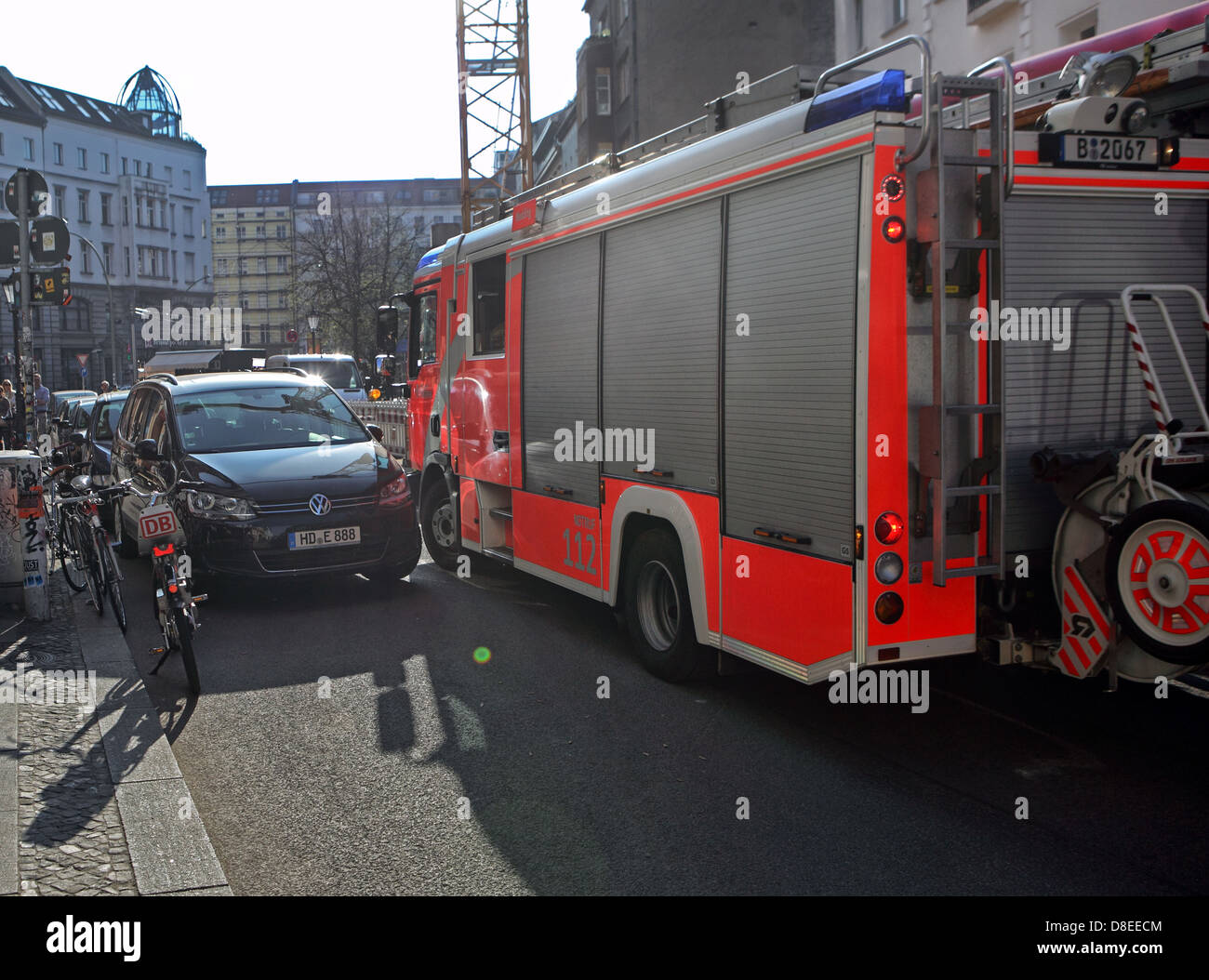 Berlin, Germany, escape route blocked by parked vehicles - Stock Image