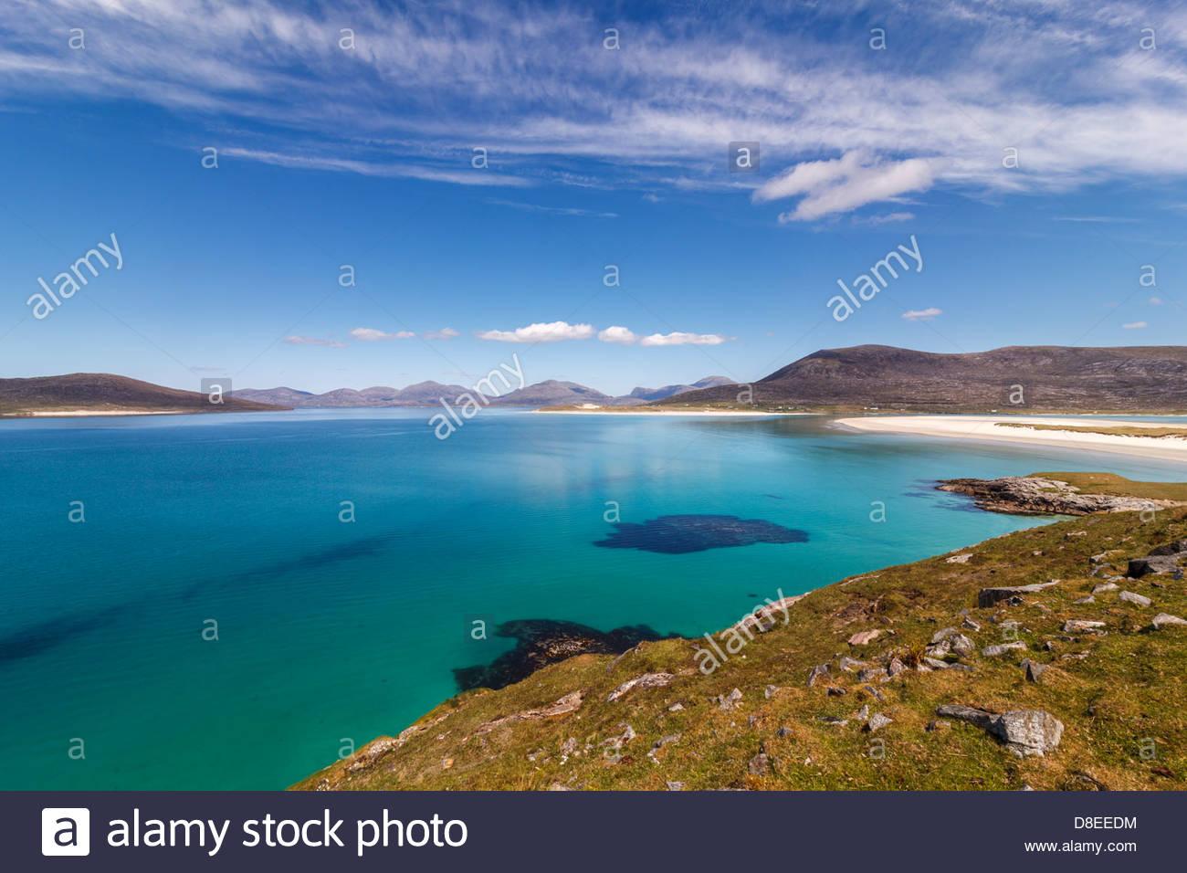 View from Horgabost towards Taransay (Tarasaigh) and Luskentyre (Lusgaintir), Isle of Harris, Outer Hebrides, Scotland - Stock Image