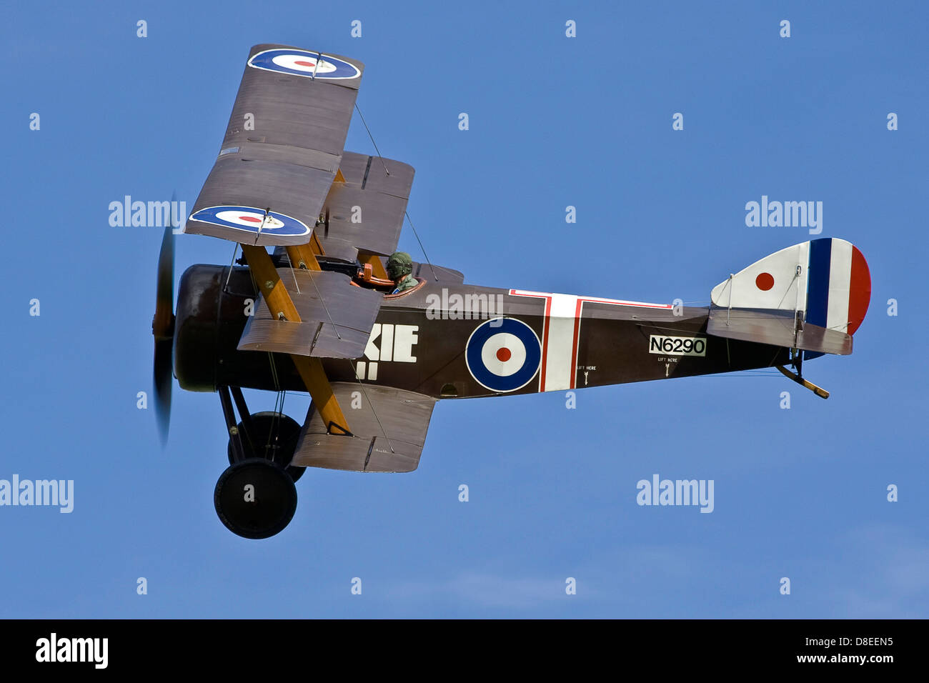 Sopwith Triplane G-BOCK N6290 First World War Vintage Replica Aeroplane Flypast at Old Warden Shuttleworth - Stock Image