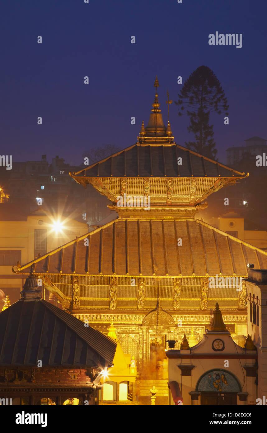 Pashupatinath Temple at dusk, Kathmandu, Nepal - Stock Image