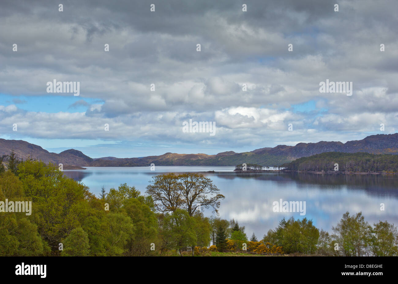 LOCH MAREE IN SPRING THE WESTERN END WITH SOME ISLANDS THE HIGHLANDS OF SCOTLAND - Stock Image