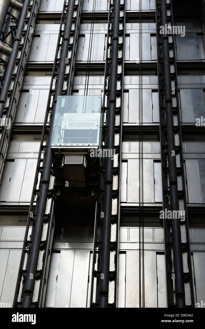 Elevator, Lloyds of London Building, London, United Kingdom. - Stock Image