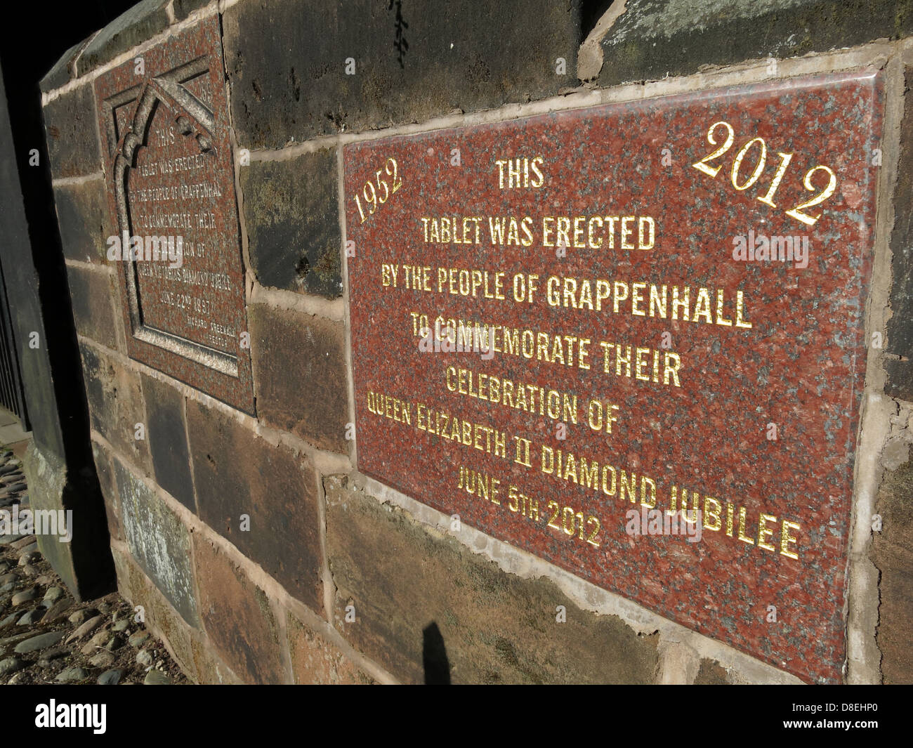 Two Jubilee plaques in Church Lane, Grappenhall Village, Warrington, Cheshire, England, UK WA4 2SJ - Stock Image