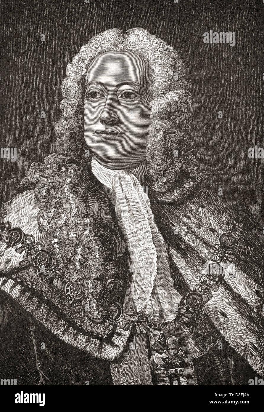 George II ,1683 - 1760. King of Great Britain and Ireland, Duke of Brunswick-Lüneburg, Hanover Stock Photo