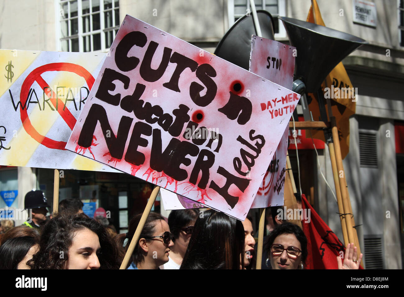 Anti education cuts placard at the May Day rally in central London 2013 - Stock Image