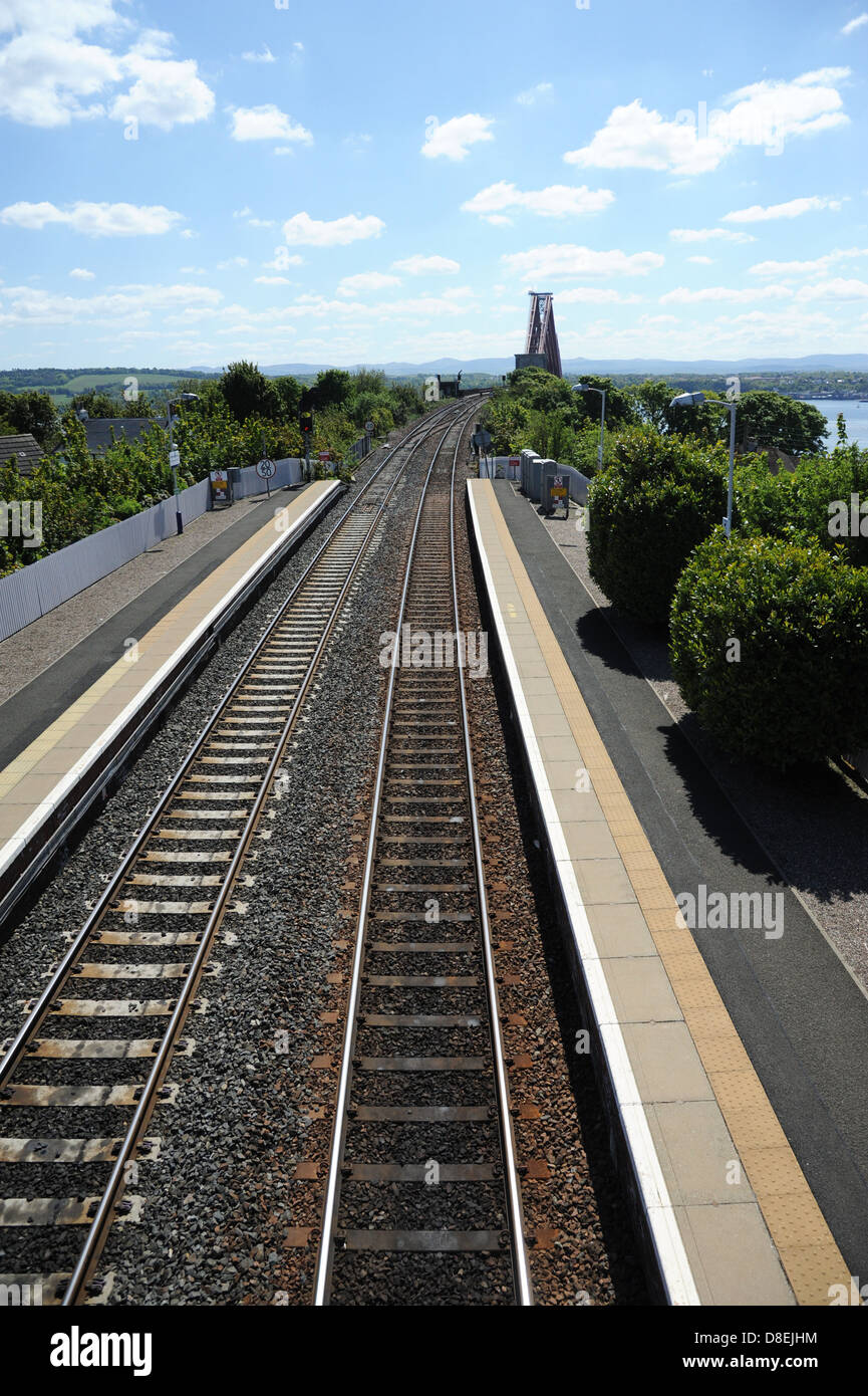 The railway line leading to the Forth Bridge. - Stock Image