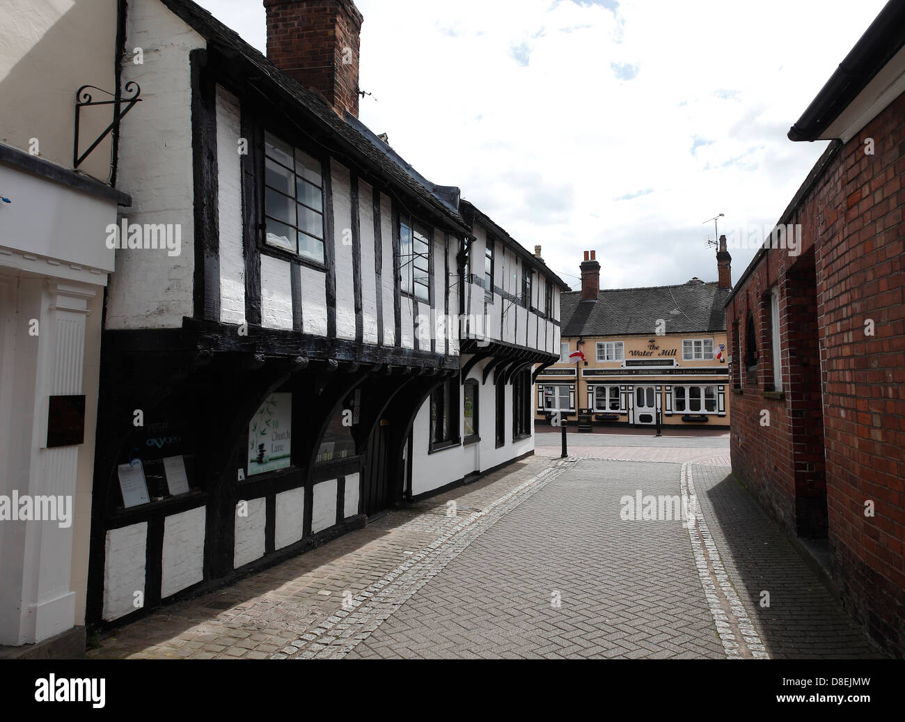 Old wood framed buildings Church Street Stafford - Stock Image