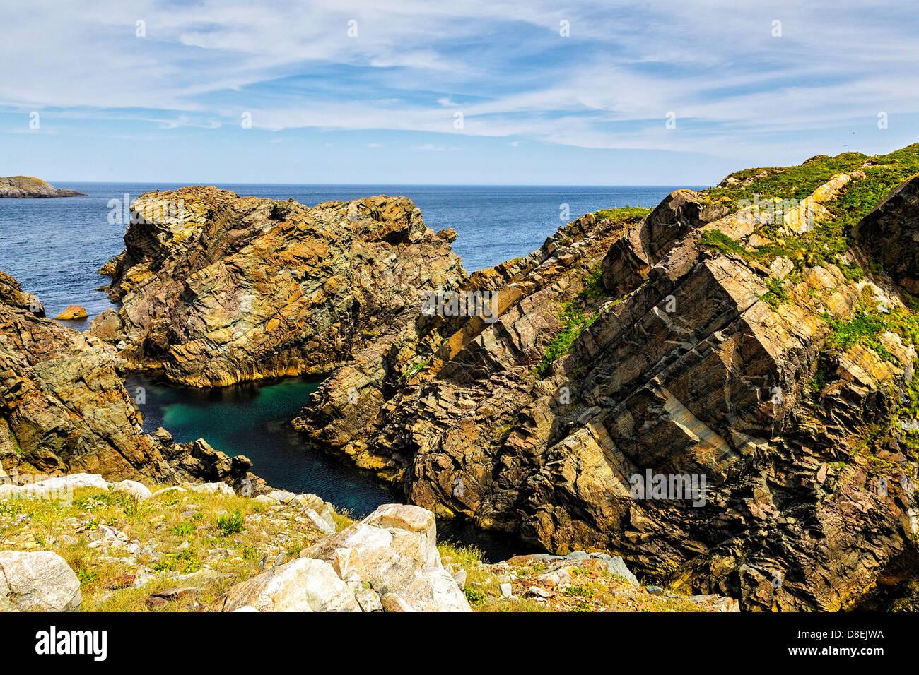 Dramatic and Rugged Landscape in Cape Bonavista, Newfoundland - Stock Image