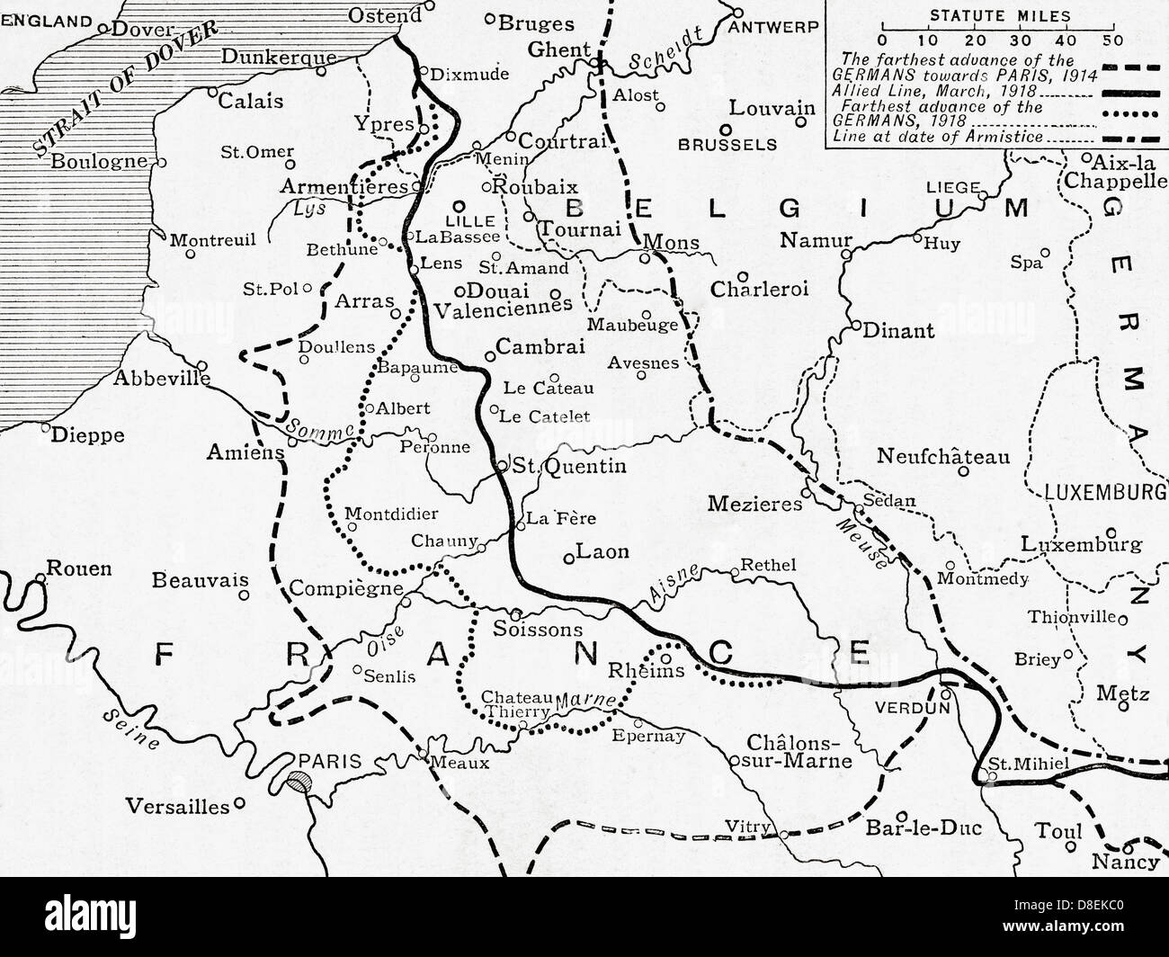 Map world war one stock photos map world war one stock images alamy map showing the lines of advance of the germans through france during world war one gumiabroncs Choice Image