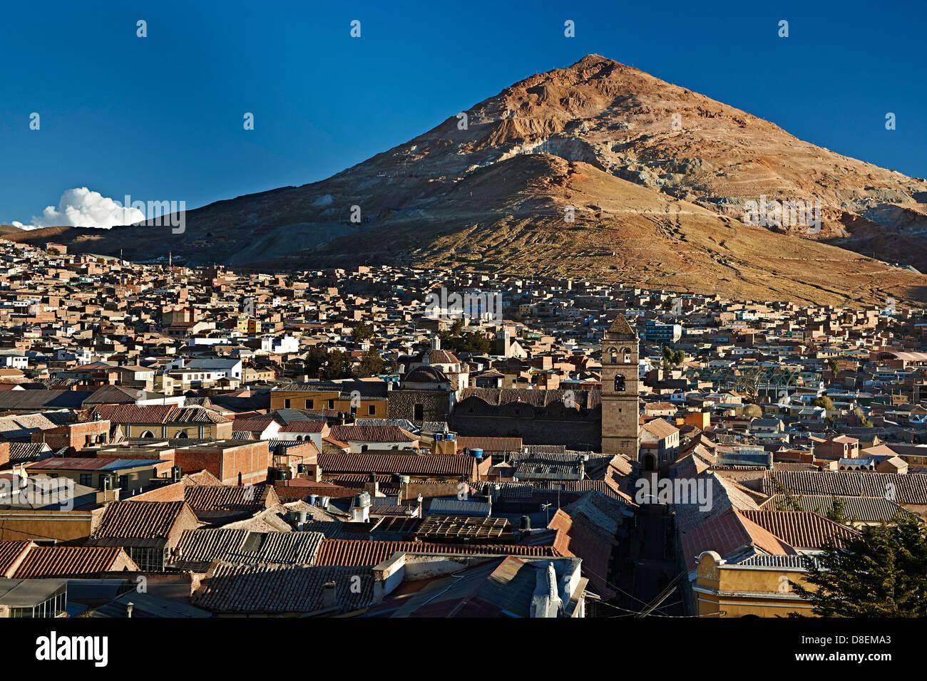Silver mountain Cerro Rico and city Potosi, Bolivia - Stock Image