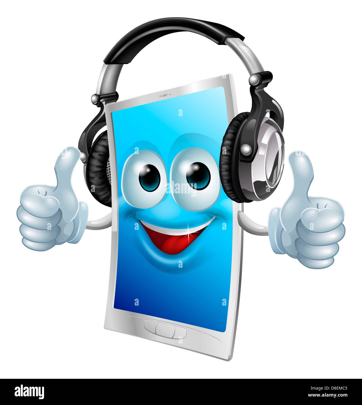 A Drawing Of A Cartoon Smiling Headphones Phone Man Stock Photo Alamy