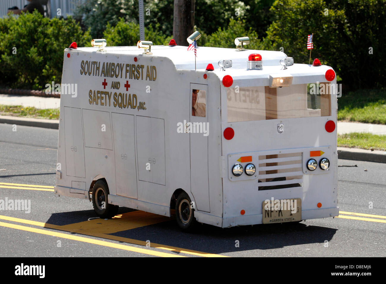 Go cart Ambulance in Memorial Day Parade in Sayreville, NJ representing the South Amboy First Aid Squad, a neighboring - Stock Image