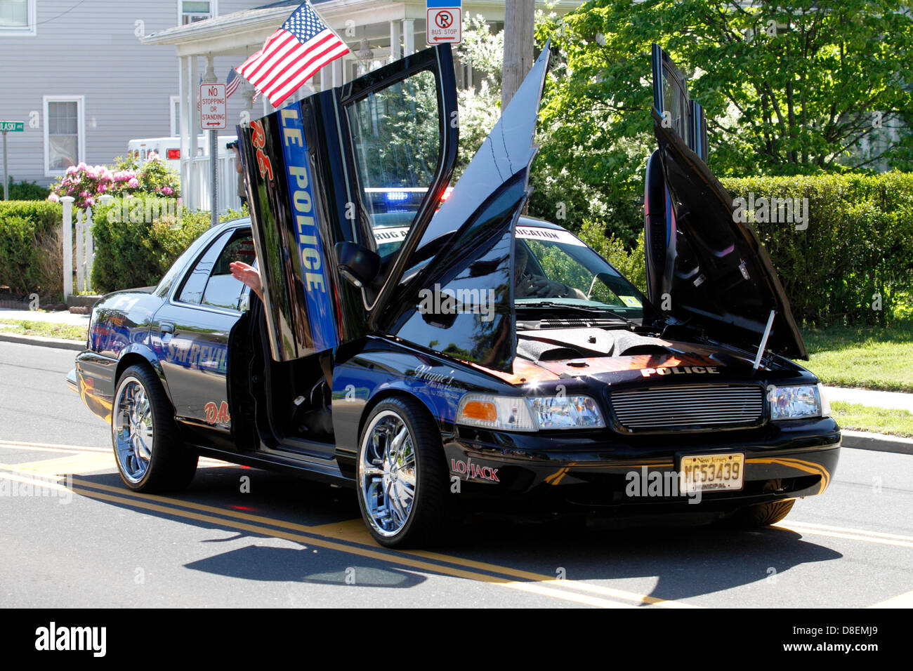 tricked out sayreville police car in memorial day parade in stock