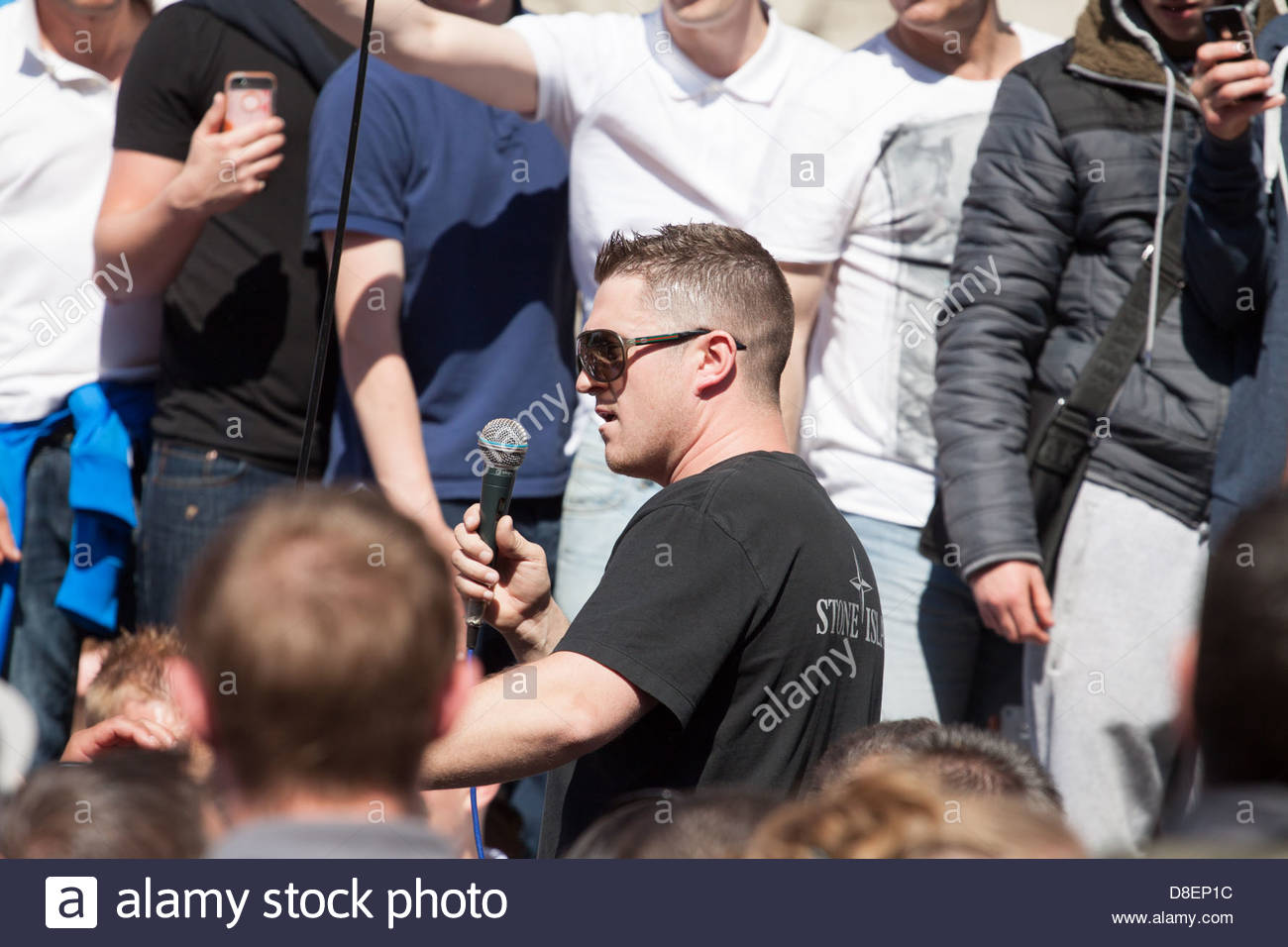 EDL leader, Tommy Robinson, gives his speech. - Stock Image