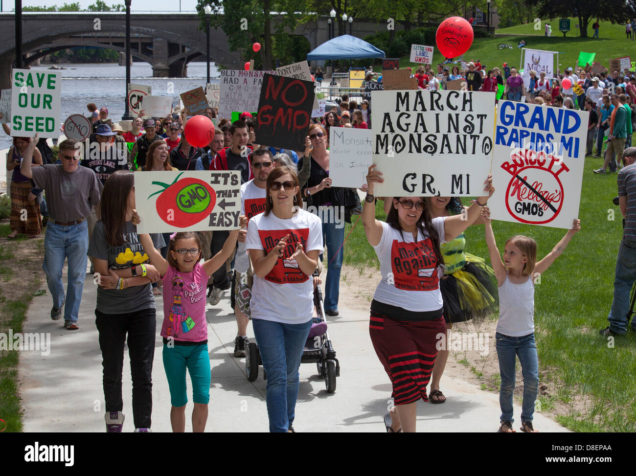 'March Against Monsanto' protests genetically modified foods - Stock Image