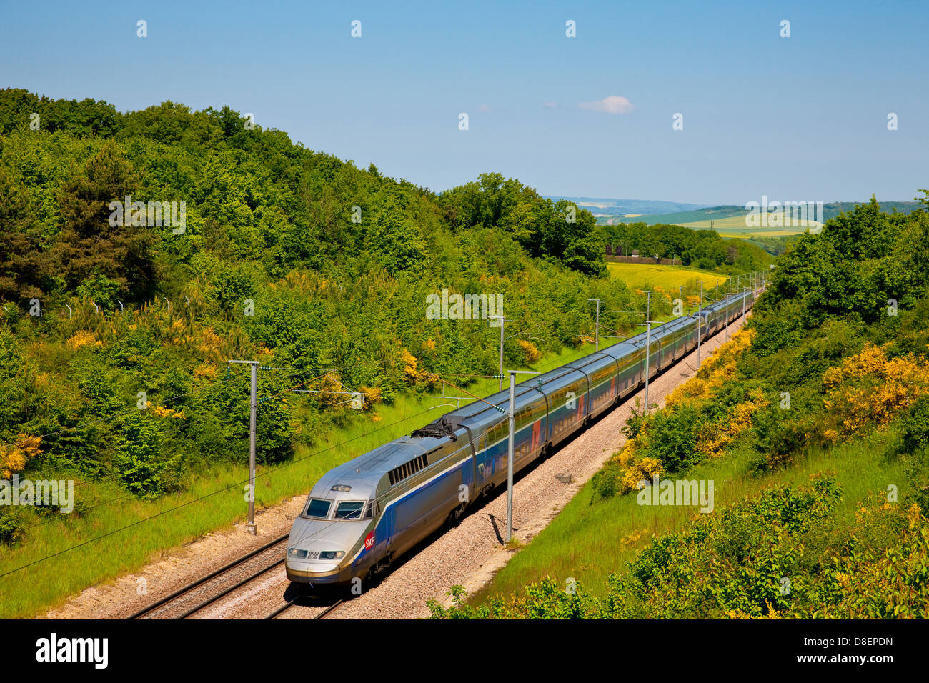 TGV Duplex ( French high-speed rail service ) in the LGV Sud-Est near Sens, France - Stock Image
