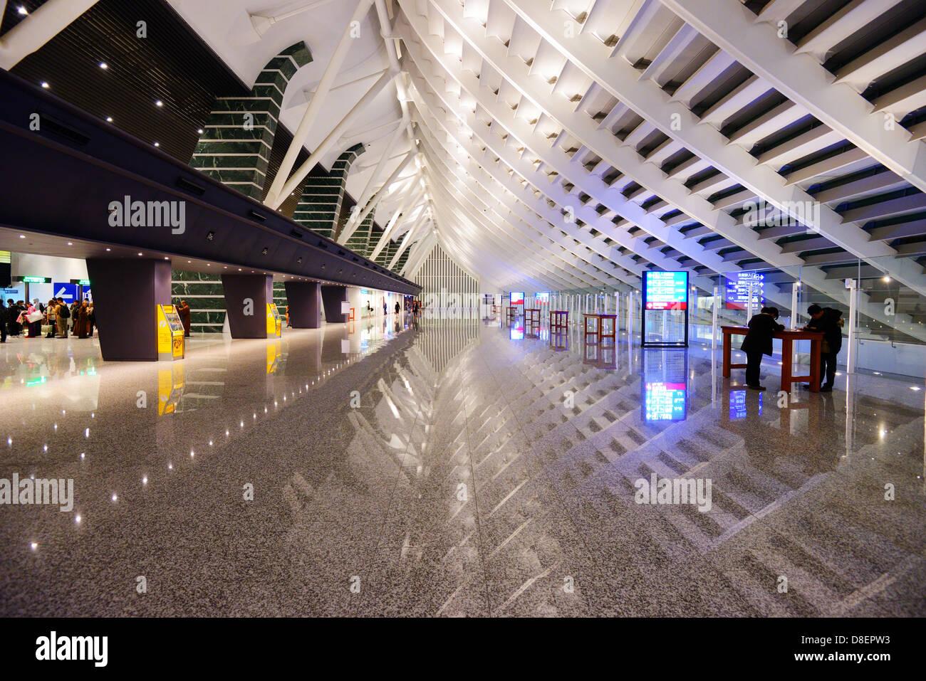 Taiwan Taoyuan International Airport customs lobby. - Stock Image