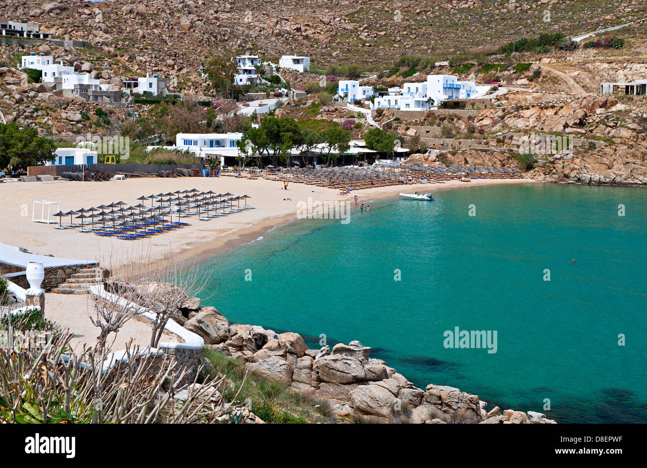Best Island Beaches For Partying Mykonos St Barts: Super Paradise Beach And Mykonos Stock Photos & Super