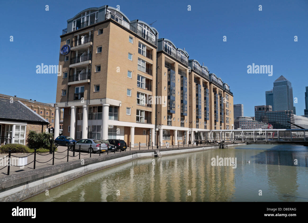 The Hilton London Docklands Riverside hotel, opposite the Canary Wharf tower, in Bermondsey, Rotherhithe, London, - Stock Image