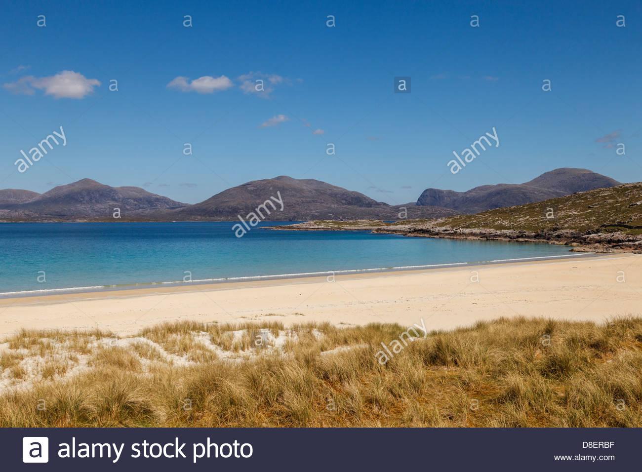 The beach at Tràigh Rosamol, West of Luskentyre, Isle of Harris, Outer Hebrides, Scotland, United Kingdom - Stock Image