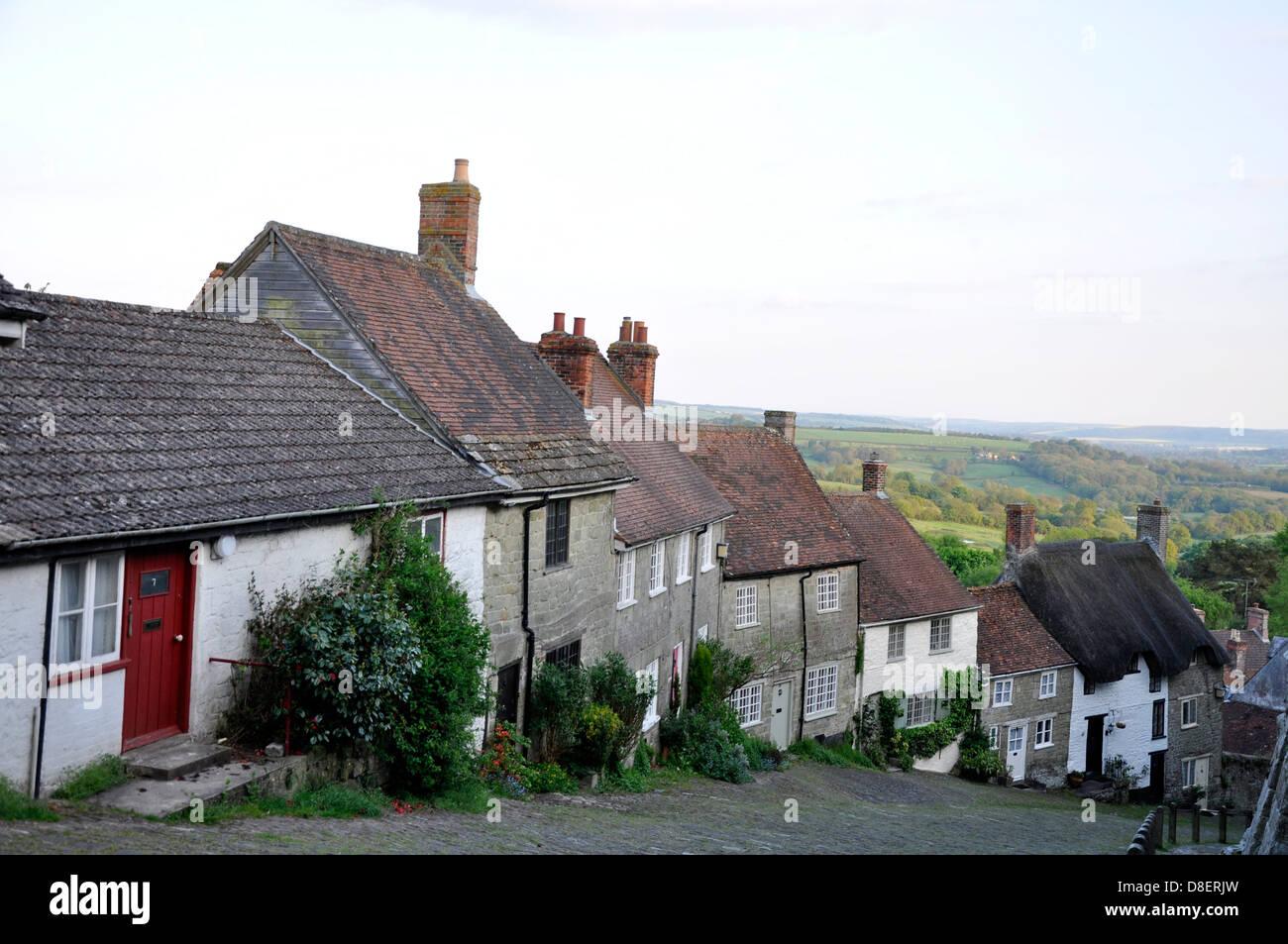 Gold Hill, Shaftesbury, Dorset, England, United Kingdom - Stock Image