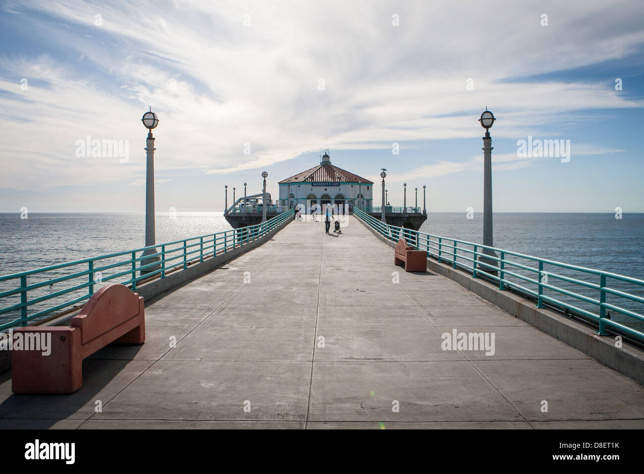 Manhattan Beach pier on a warm sunny day in Los Angeles, California, USA - Stock Image