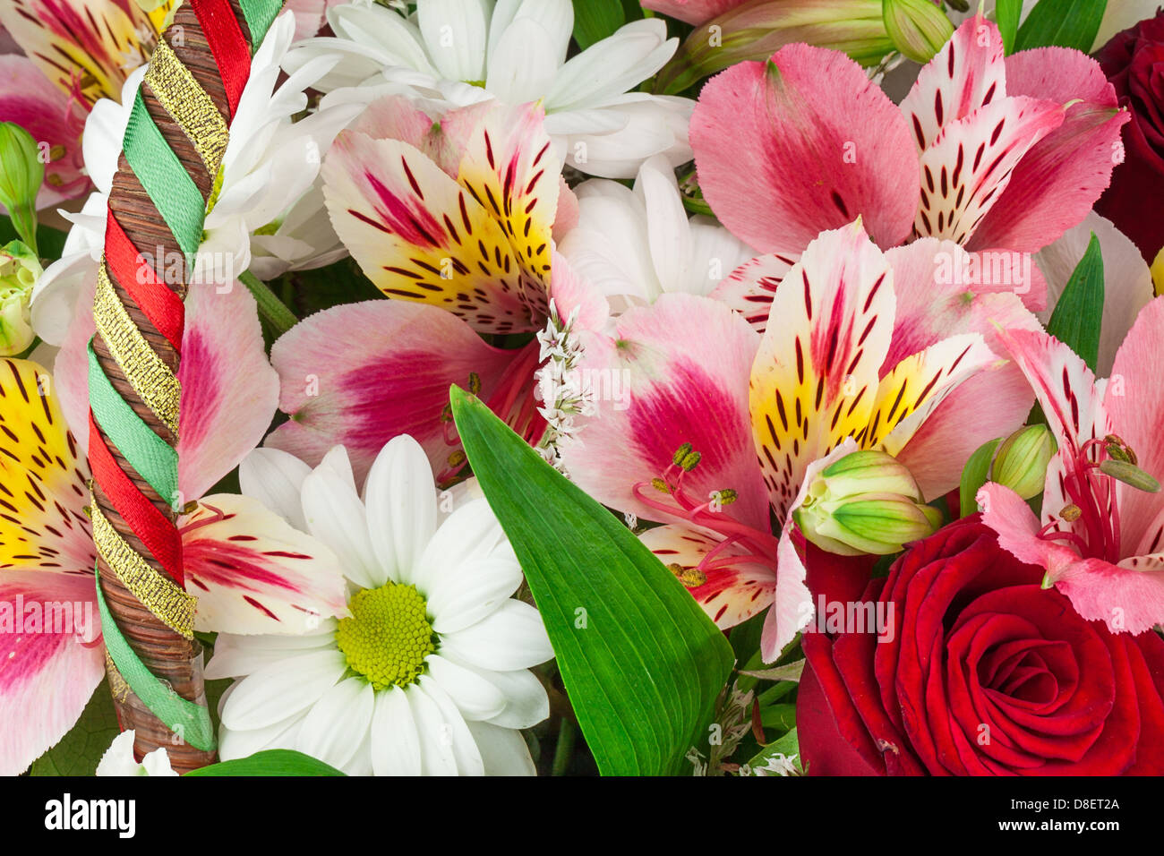 Misc of flowers. Lyly, daisy and roses. - Stock Image