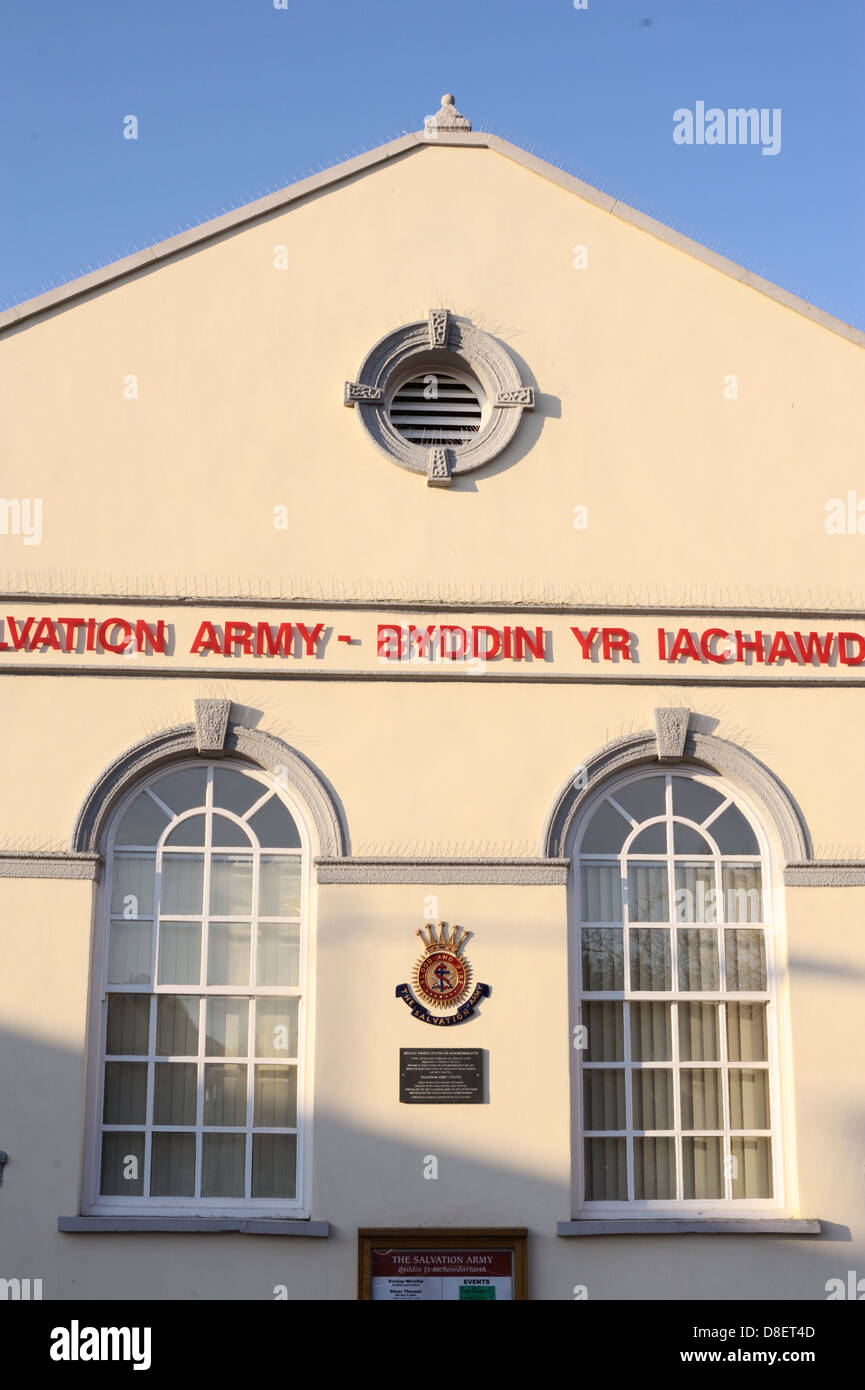 The Salvation Army building, newly painted with bird deterrent spikes, Aberystwyth, Wales, UK. - Stock Image