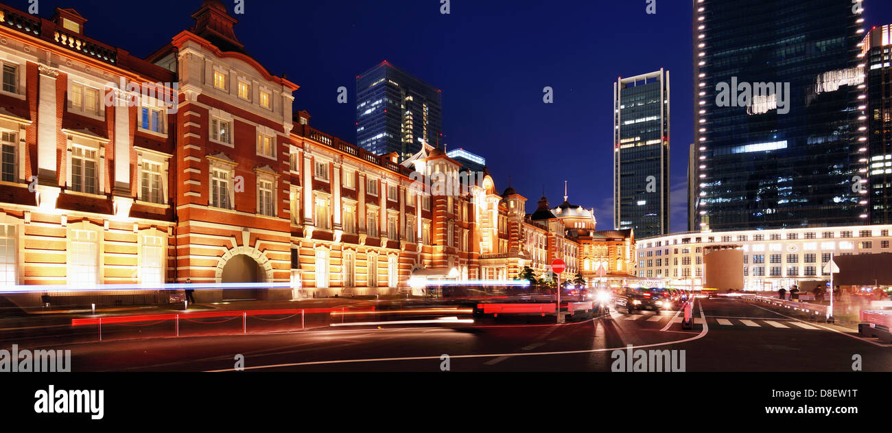 Exterior of Tokyo Station at night. - Stock Image