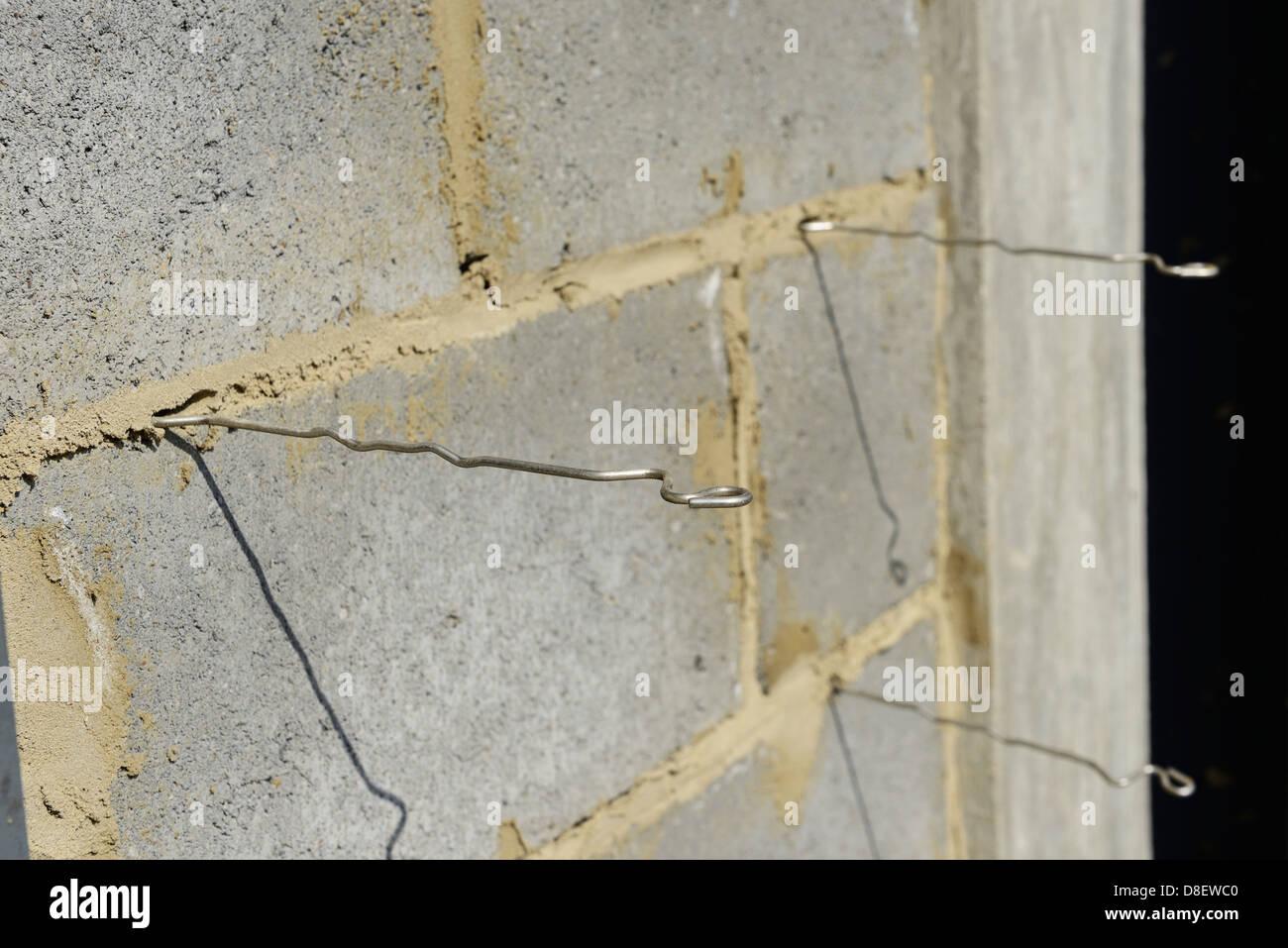 Metal brick wall ties - Stock Image