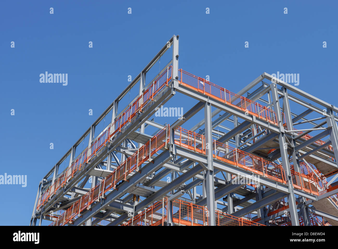 Construction site steel frame with safety rails - Stock Image