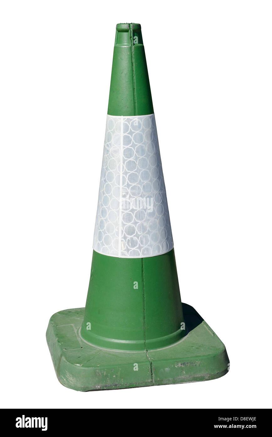Green traffic cone - Stock Image
