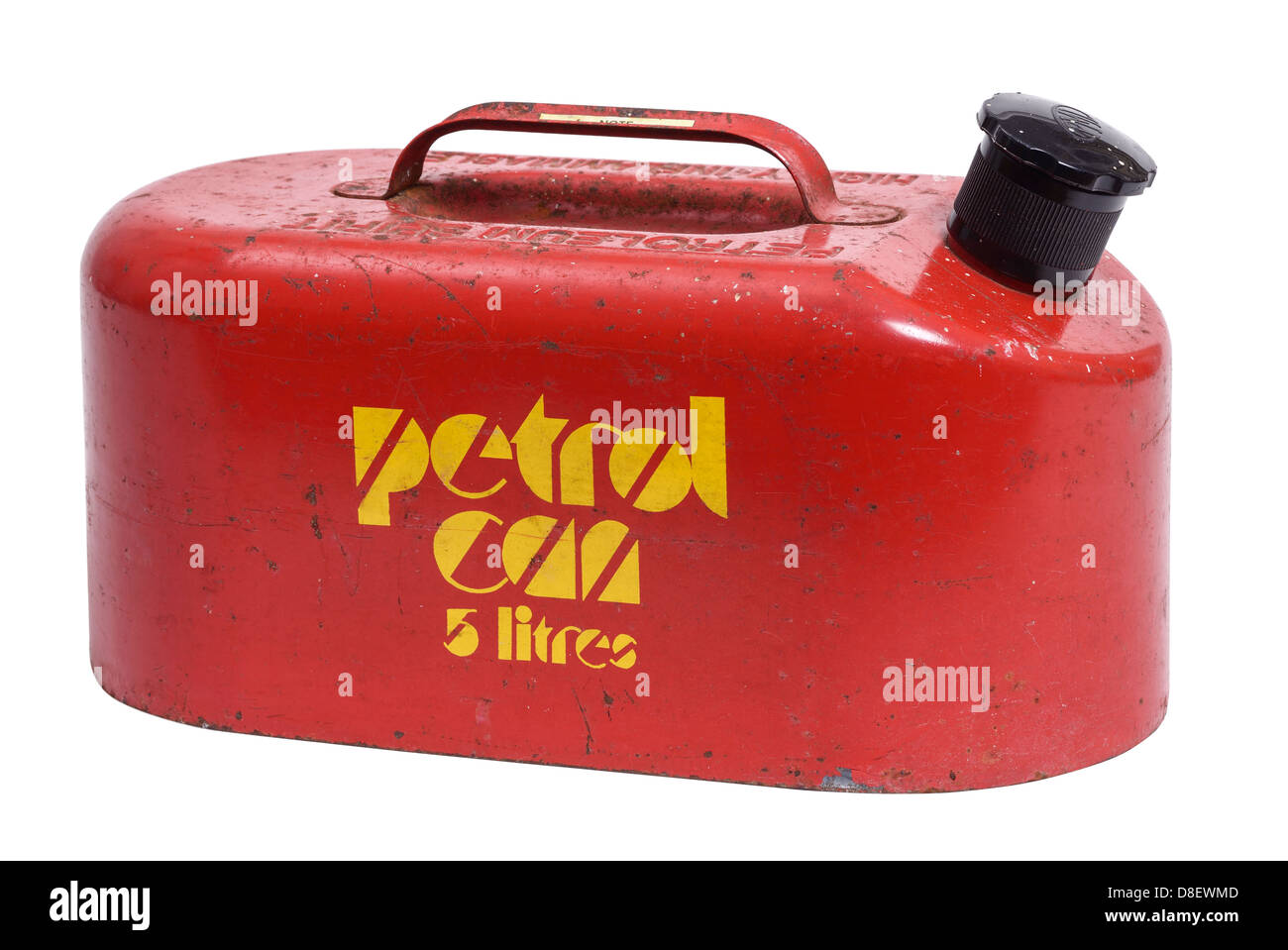 Red metal petrol can - Stock Image