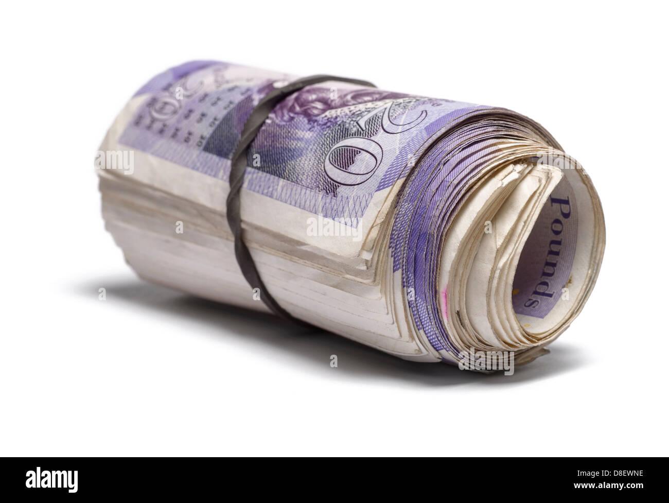 Bundle of twenty pound notes - Stock Image