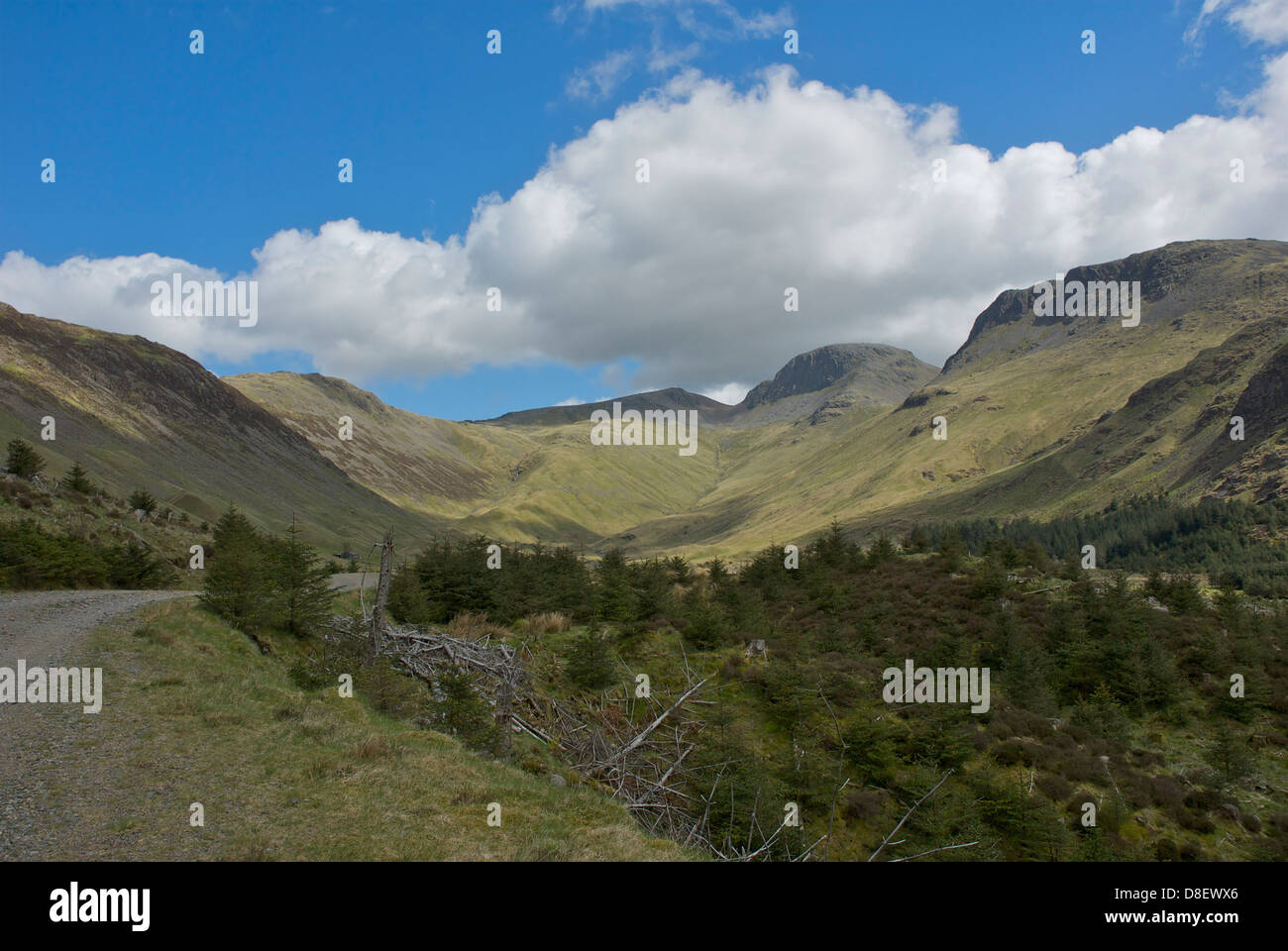 The head of the Ennerdale Valley, looking towards the Black Sail hut, Lake District National Park, Cumbria, England Stock Photo