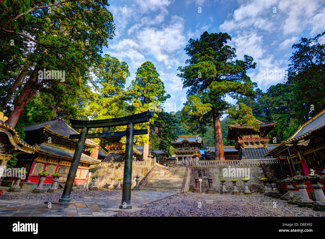 Toshogu Shrine grounds in Nikko, Japan, sight of the tomb of the last Shogunate Tokugawa Ieyasu. - Stock Image