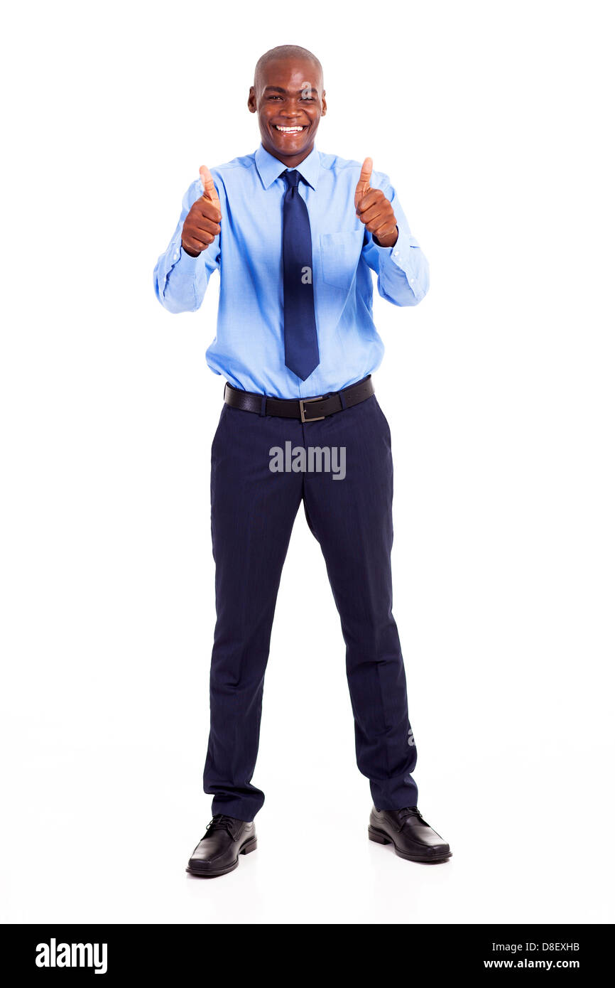 african businessman giving two thumbs up isolated on white - Stock Image